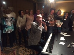 Gary playing harmonica on Piano Man